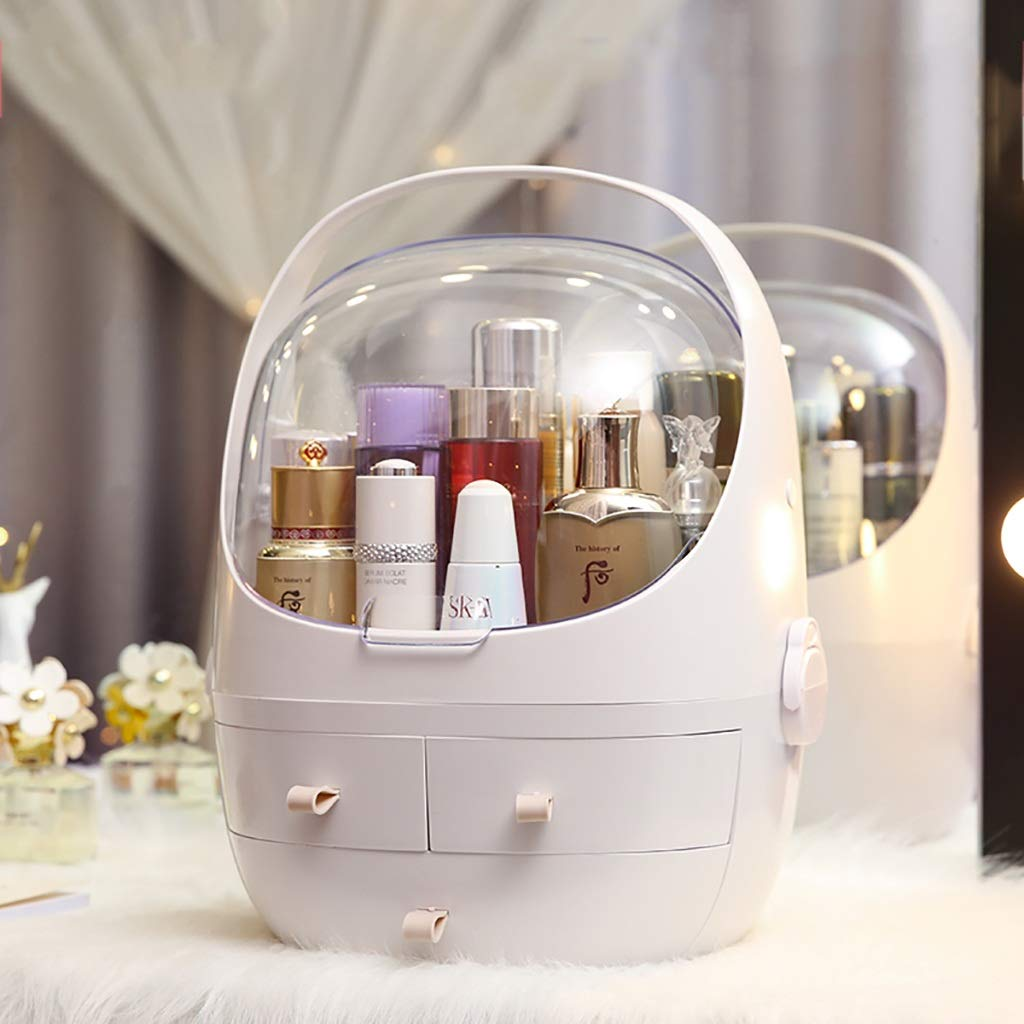 Portable Makeup Organizer with Handle, Dust Cover, 3 Drawers/Jewelry and Cosmetic Storage (Color : White, Size : 31.5cm × 27.5cm × 40.5cm)