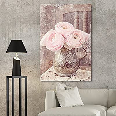 Canvas Wall Art - Vintage Style Pink Roses in Metal Vase - Giclee Print Gallery Wrap Modern Home Art Ready to Hang - 24x36 inches