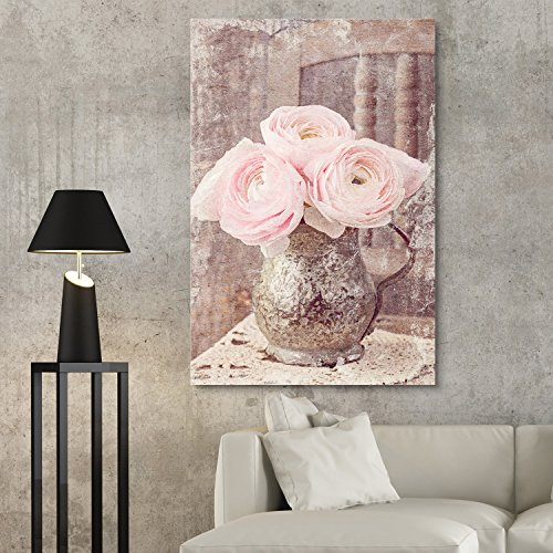 wall26 - Canvas Wall Art - Vintage Style Pink Roses in Metal Vase -