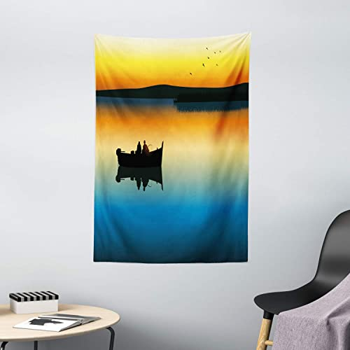 Ambesonne Fishing Tapestry, Buddies on Tranquil Still Lake at Epic Sunset Fishing Male Friends Bond Friendship, Wall Hanging for Bedroom Living Room Dorm Decor, 40 X 60 , Orange Blue