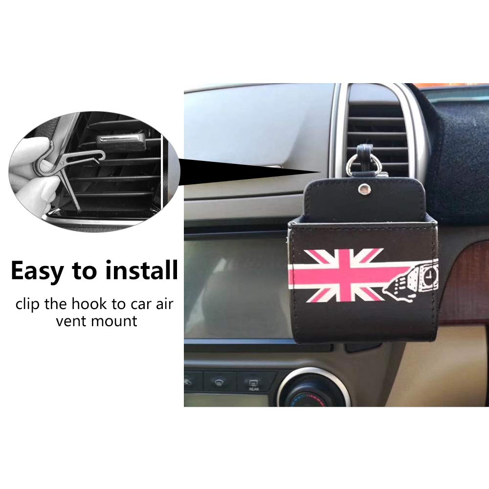Black FMS Car Air Vent Cell Phone Holder PU Leather Bag Organizer Pouch Storage for Smartphone Pens or Sunglasses