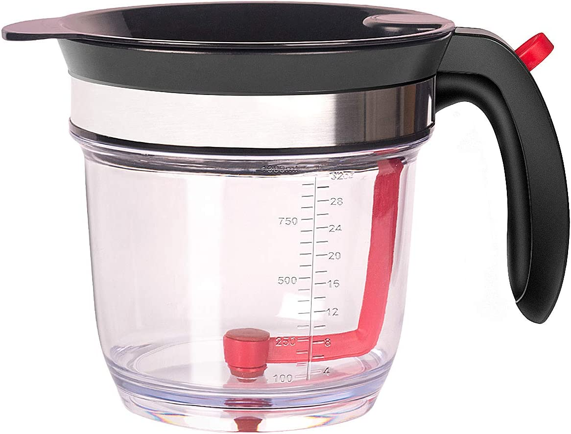 4-Cup Gravy Fat Separator With Bottom Release - Healthier Gravy, Soup, Stock And Oil Separator With Strainer 1L Grease Separator Cup Fat Skimmer For Cooking