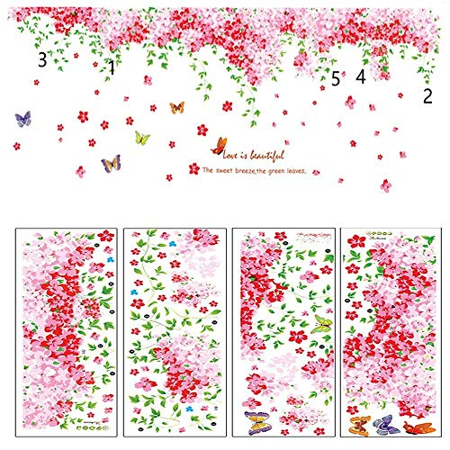 Removable Large Pink Cherry Blossom Wall Stickers DIY Wall Decal Green Leaves Nursery Flowers and Butterfly Wall Art Decor for Home Wall Living Room Bedroom Wall Corner Girls Rooms 2.37m(W) ()