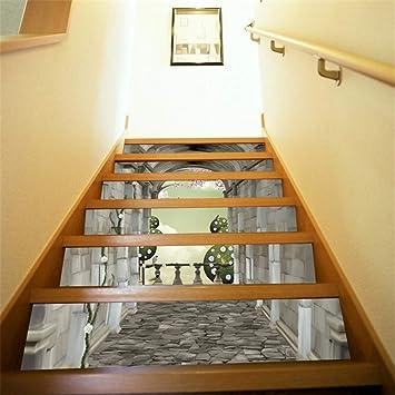 Pegatinas de escalera 6 Unids Calcomanías Etiqueta Engomada de la Escalera 3D Escaleras Creativas Azulejos Wallpaper Mural Autoadhesivo Vinilo Removible Arte Calcomanías Escalera Para Escaleras O Deco: Amazon.es: Bricolaje y herramientas