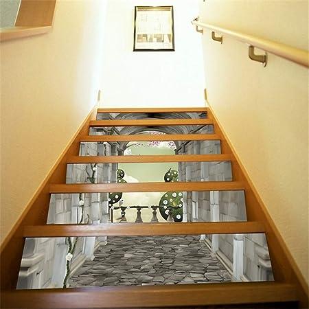 Pegatinas de escaleras 6 Unids Calcomanías Etiqueta Engomada de la Escalera 3D Escaleras Creativas Azulejos Wallpaper Mural Autoadhesivo Vinilo Removible Arte Calcomanías Escalera Para Escaleras O Dec: Amazon.es: Hogar