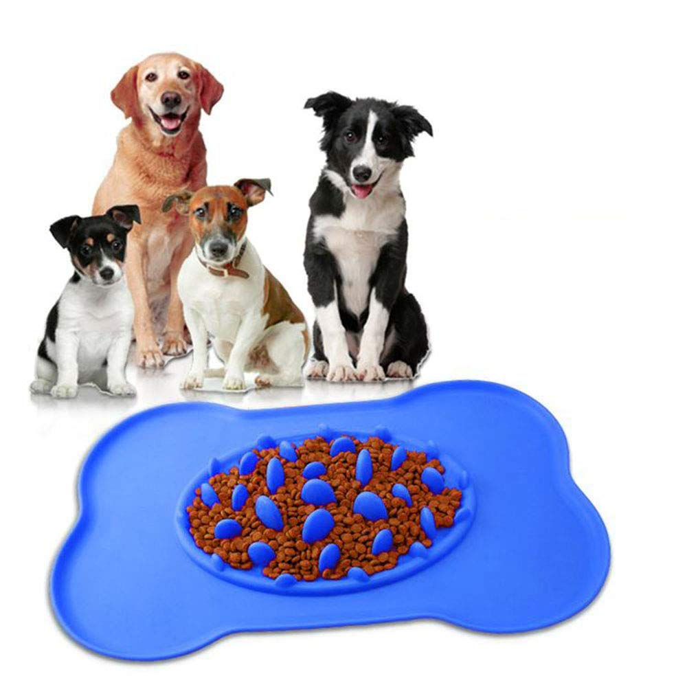 bluee Slow Eating Dog Bowl, Large Dog Feeding Mats Non Slip Interactive Slow Feeder Foraging Bowl 100% Silicone Pet Bowl, Prevent Bloating and Choking,bluee