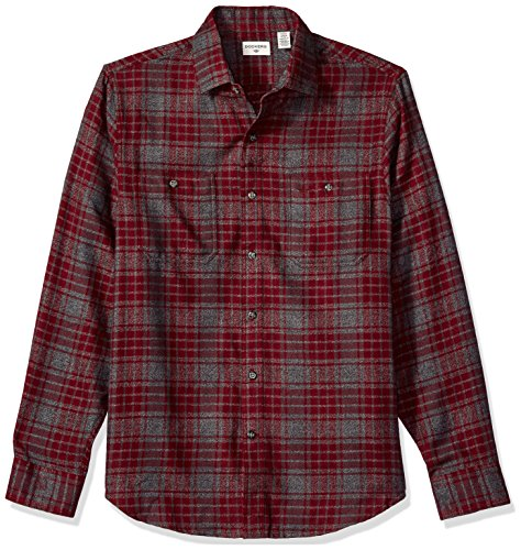 Dockers Men's Jaspe Plaid Long Sleeve Button Front Shirt, Windsor Wine, Small ()
