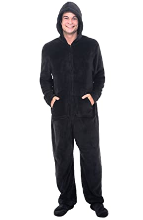 Del Rossa Men's Fleece Onesie, Hooded Footed Jumpsuit Pajamas at ...