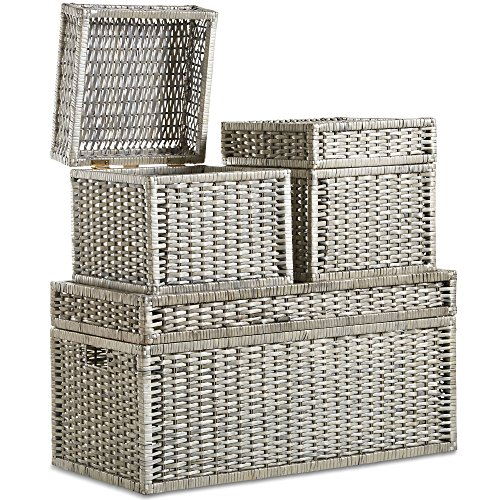 VonHaus Set of 3 Woven Wicker Storage Trunks Chest - End of the Bed Storage Ottoman Bench Multi-purpose Home Organizer (Baskets Wicker Bench Storage)