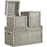 VonHaus Set of 3 Woven Wicker Storage Trunks Chest - End the Bed Storage Ottoman Bench Multi-purpose Home Organizer