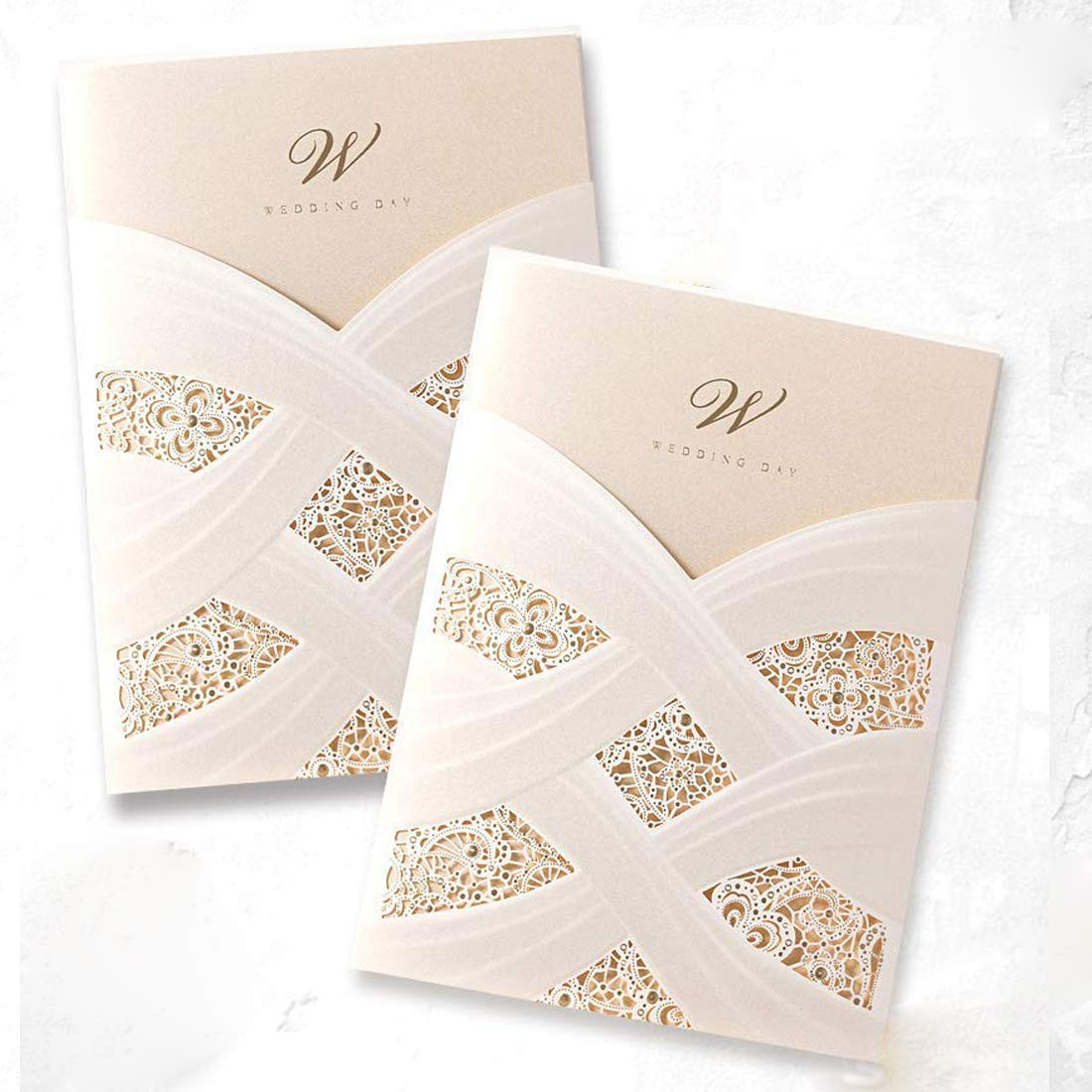 50 Pieces Wishmade Laser Cut Wedding Invitations Cards Kits Engagement Lace Style Vertical Ivory Pocket for Marriage Anniversary Cardstock with Envelope and Seal Bride Shower Packs Favors