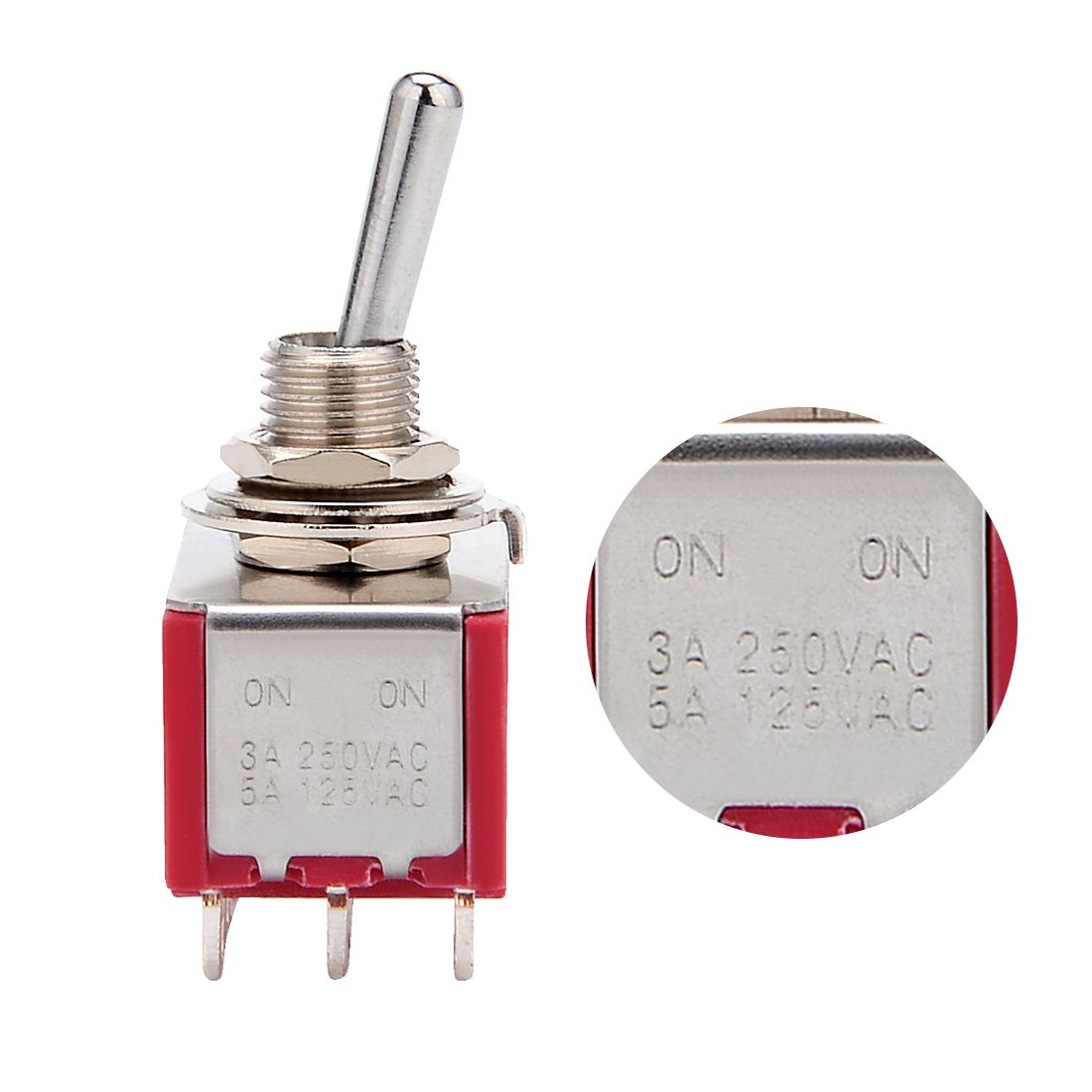 uxcell 5Pcs AC 125V//5A 250V//3A ON//ON 2 Positions 12 Terminals 4PDT Toggle Switch