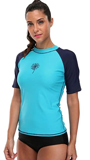 09fbcd367 ATTRACO Women Short Sleeve Rash Guard UPF 50+ Rashguard Swimming Sun Shirt  Surfing Swimwear
