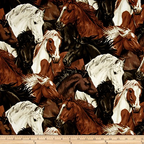 Fabri-Quilt Run Free Stacked Horses Ecru Fabric by The Yard ()