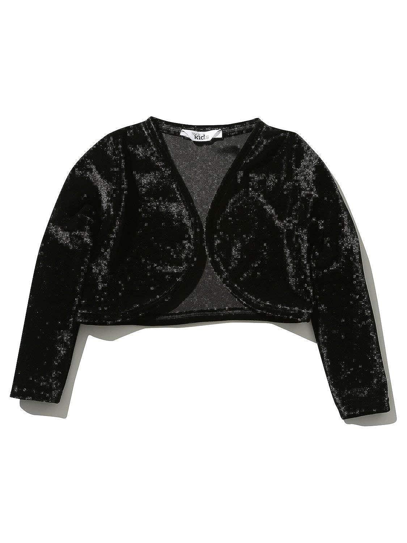 M&Co Girls Long Sleeve Plain Black Soft Touch Velour Bolero