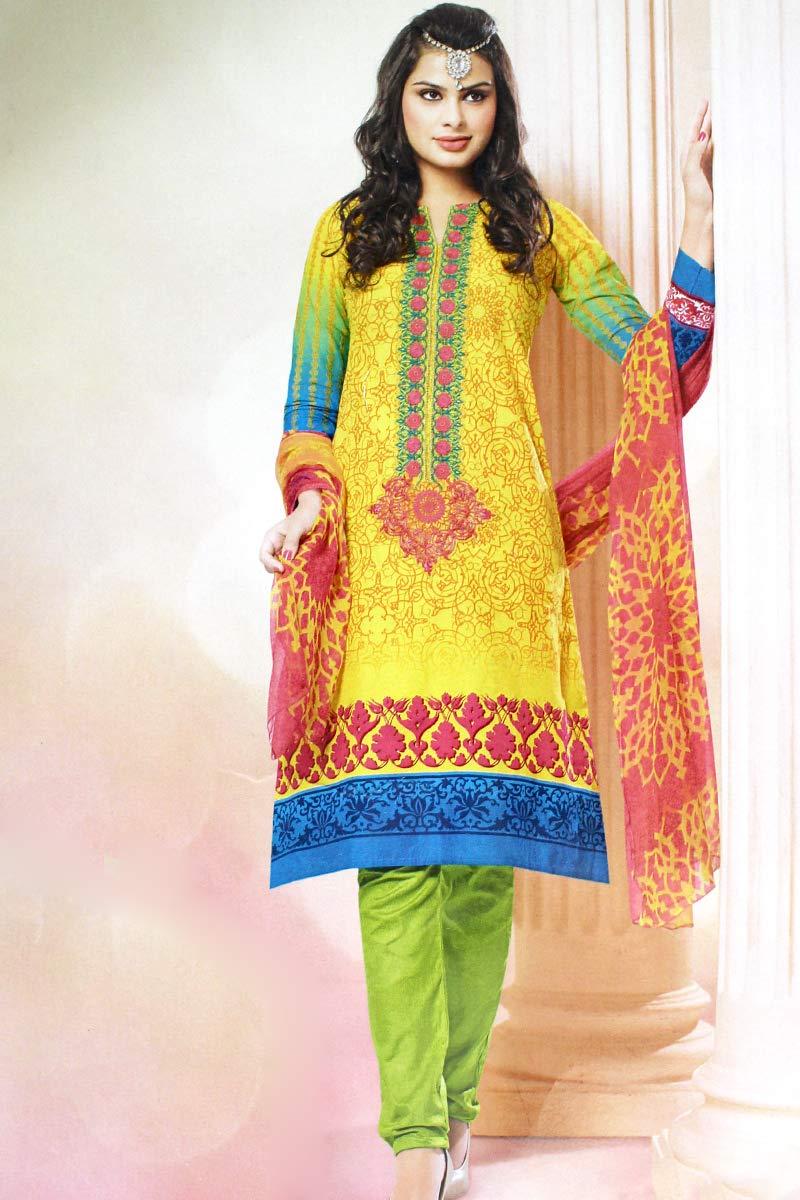 Designer Traditional wear Indian/Pakistani Pure Cotton Printed Long Suit SMB-107 (XL, Design-B)