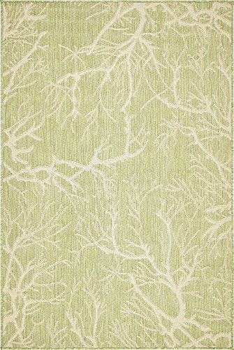 Unique Loom Outdoor Botanical Collection Abstract Pictorial Transitional Indoor and Outdoor Flatweave Light Green  Area Rug (4' 0 x 6' 0)