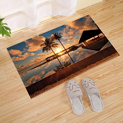 FANNEE Tropical Ocean Twilight Sunset Resort Hotel Pool Large Door Mat, Yellow Brown, Personality Outdoor Welcome Entrance Door Mat - Decorative Front Door Welcome Carpet Wedding ()