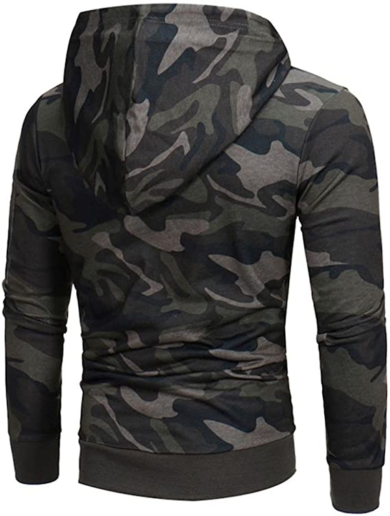 3XL Mens Camouflage Hoodie Fur Lined Full Zip Army Camo Hooded Winter Jacket M