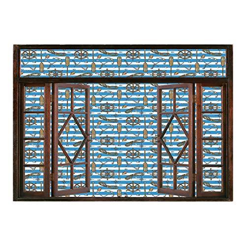(SCOCICI Window Mural Wall Sticker/Nautical Decor,Sailor Uniform Stripes Background Cruise Regatta Tourism Classic Illustration,/Wall Sticker)