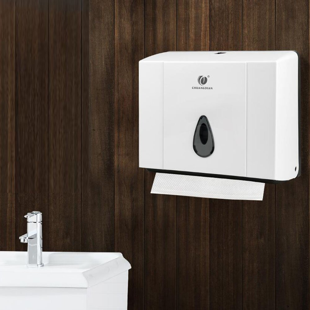 HEHEN CHUANGDIAN Wall-Mounted Bathroom Rectangular Tissue Dispenser for Multifold Paper Towels/White