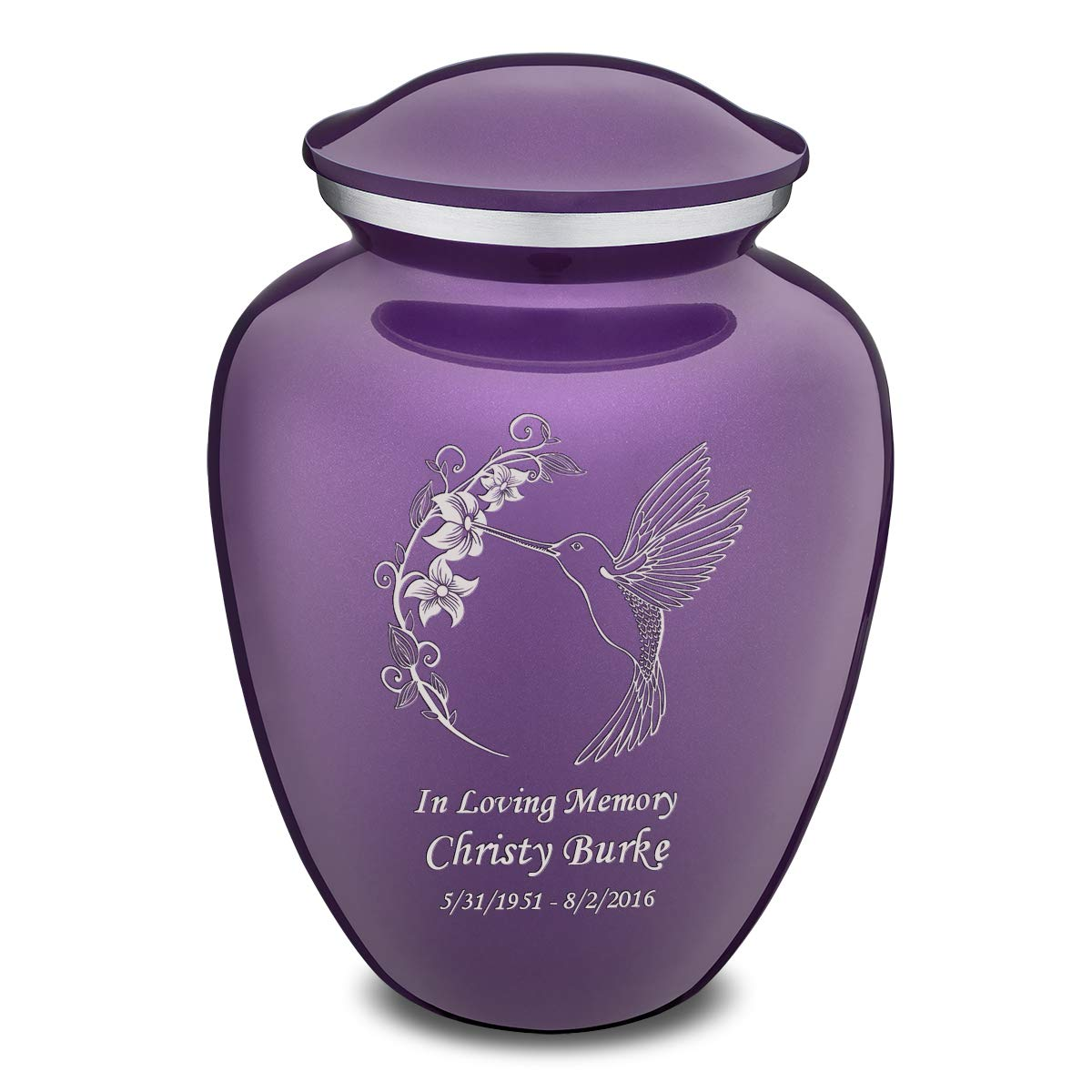 GetUrns Adult Embrace Hummingbird Cremation Urn for Ashes with Custom Engraving Purple