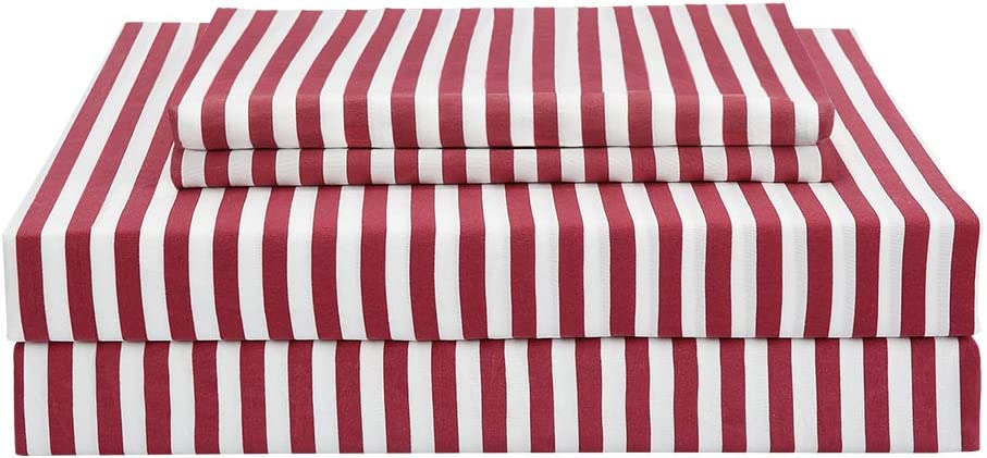 Best Season Striped Sheet Set 3 Piece-1800 Brushed Microfiber Bedding,Deep Pocket,Wrinkle Fade,Stain,Easy Care (Red,Twin Size)