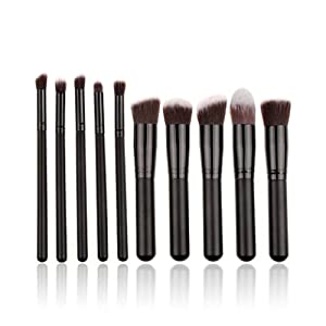 Makeup Brushes, MeGooDo 10 Pcs Premium Synthetic Kabuki Cosmetics Foundation Blending Blush Eyeliner Face Powder Brush Makeup Brush Kit, Black