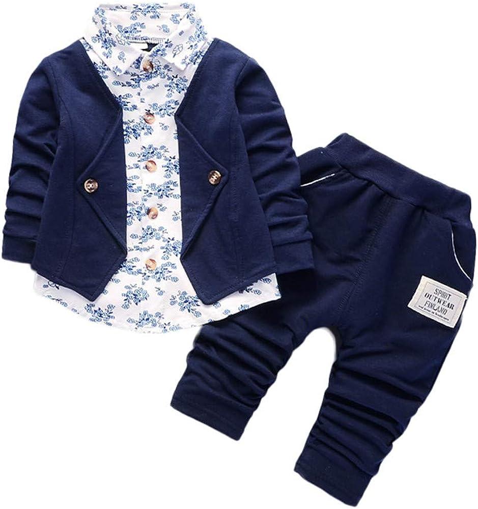 Ropa Bebe Niño otoño Invierno 2018, Conjunto de Ropa para bebé niños de Caballeros Trajes de Fiesta del Boda Formal Camisas y Pantalones