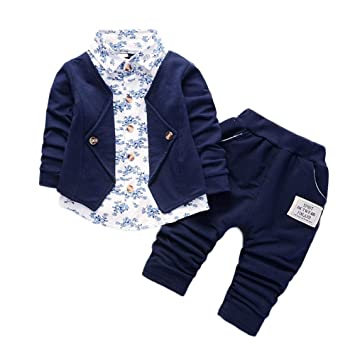 Baby Boys Gentry Clothes Set,Formal Party Christening Wedding Tuxedo Bow Tops and Pants Outfits