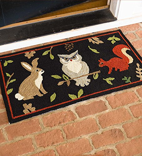 - Indoor Outdoor Hooked Woodland Rug - 43 L x 24.25 W x 0.25 H