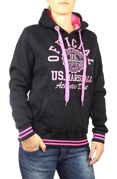 US Marshall Original Sudadera Con Capucha De Mujer Suéter Jersey con capucha en varios colores - algodón, gris negruzco-rosa, 80% algodón % algodón 20% ...