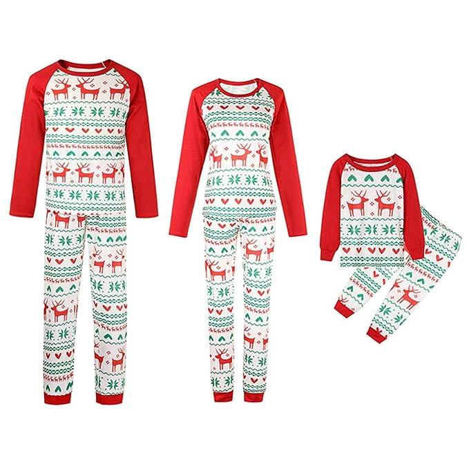 ... Pigiama Cervo Stampato Bambina Donna Ragazza Set 2 Pezzi Uomo Costume  Bambino Camicie da Notte Invernali Top Pantaloni Xmas  Amazon.it   Abbigliamento fe9e70b4374