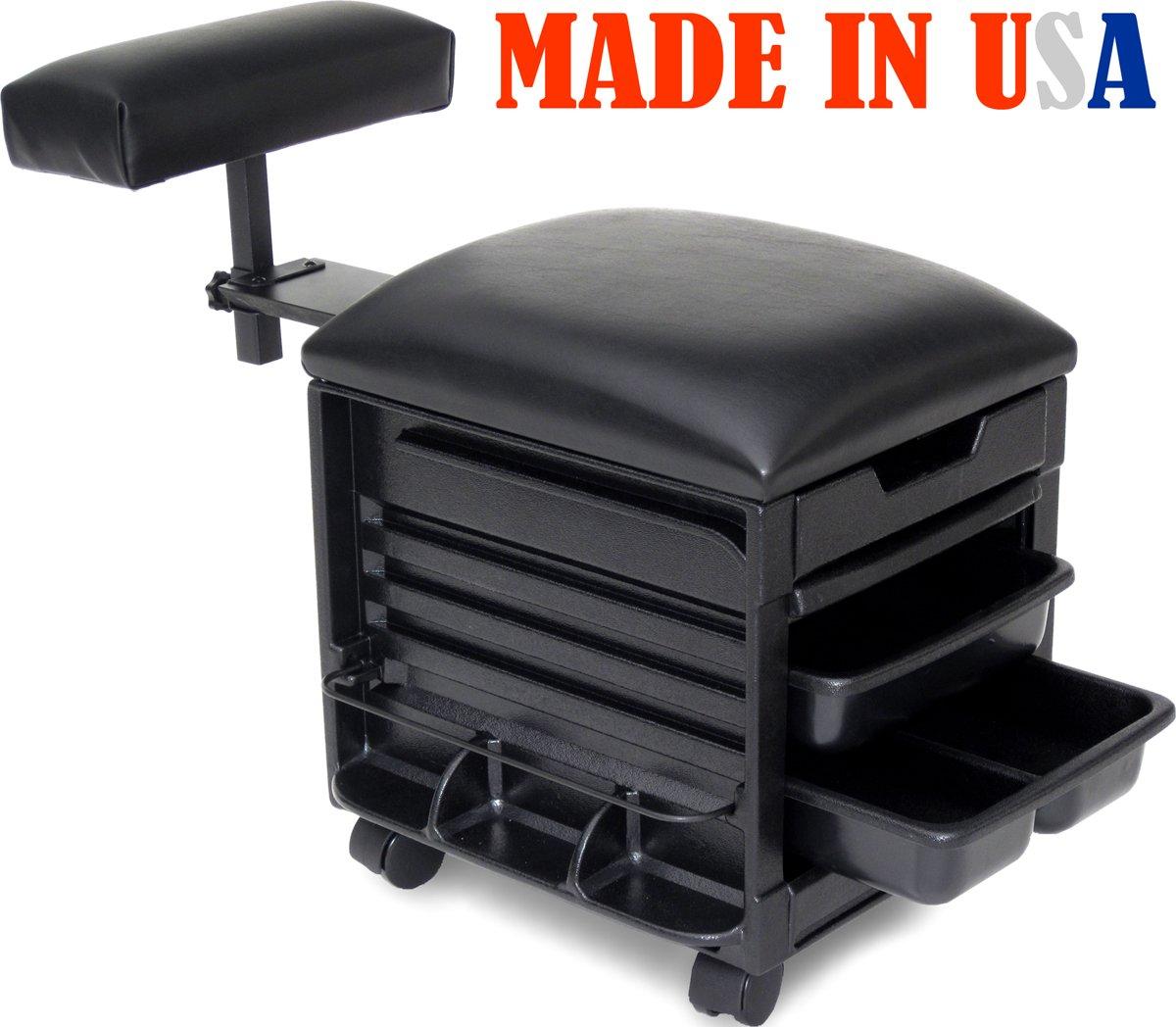 Dina Meri 2316-HF Salon Spa Pedicure Nail Stool, Seat w/Adjustable footrest Made in USA