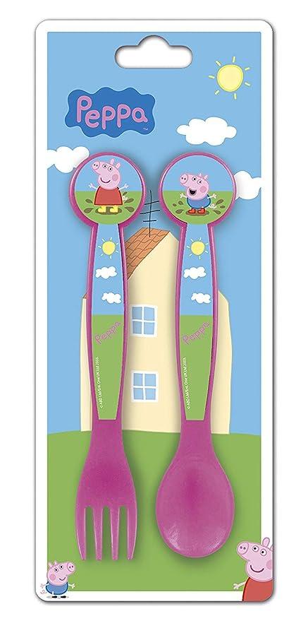 Peppa Pig - Cubertería infantil (2 piezas, tenedor y cuchara ...