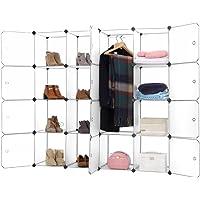 Finether-Armario Modular para organización de 16 Cubos (para Ropa Zapatos Juguetes Libros Chucherías)Blanco