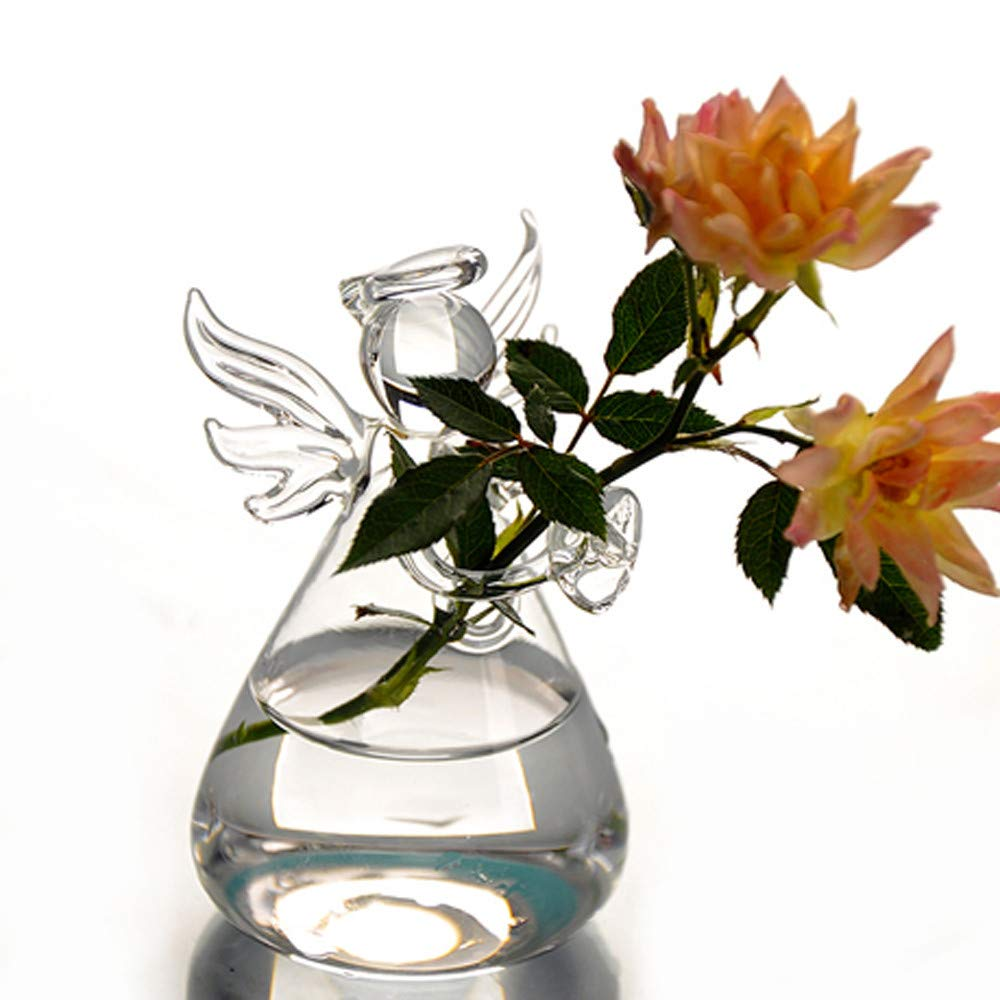 Freeby Creative Angel Vase Cute Clear Hanging Glass Flower Plant Pot for Wedding Office Home Decor