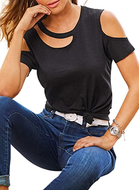1a0a8ee8a01 HOTAPEI Womens Black Sexy Cut Out Neck Cold Shoulder Loose Fit Casual  Summer Tops and Blouses
