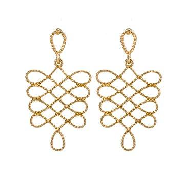 Vintage Lady Gold Silver Metallic Alloy Ear Drop Dangle Earrings Fashion Jewelry