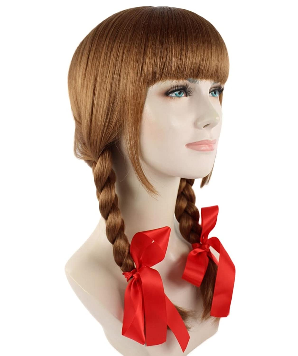 Annabelle Style Cosplay Wig Brown Long Hair Double Braid With Straight Bangs