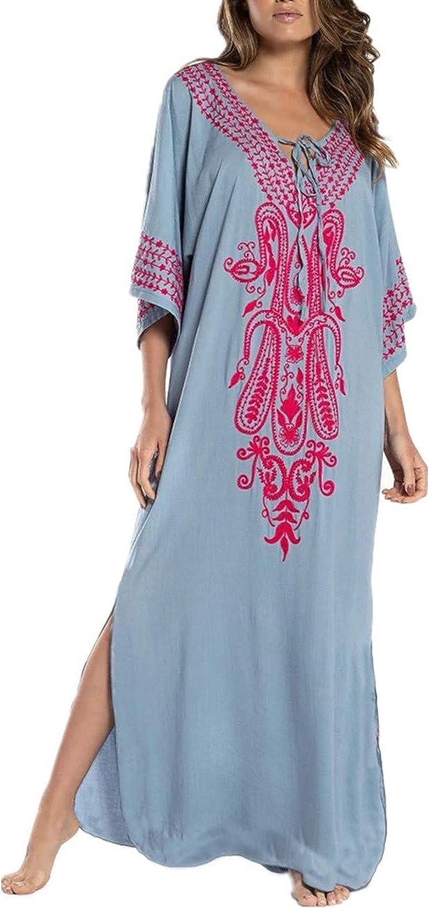 AiJump Vestido de Playa Kaftan Kimonos Pareos Bohemia Cover Ups para Mujer