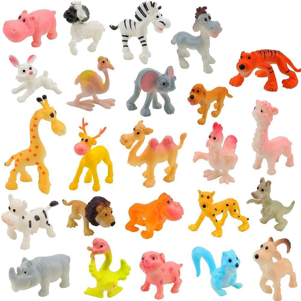 BESTZY Figuras de Animales 24Pcs Mini plástico Animales de Granja y Animales Salvajes de la Selva Juguetes Figuras para niños Aprendizaje Playset Educativo Favores de Fiesta Regalos