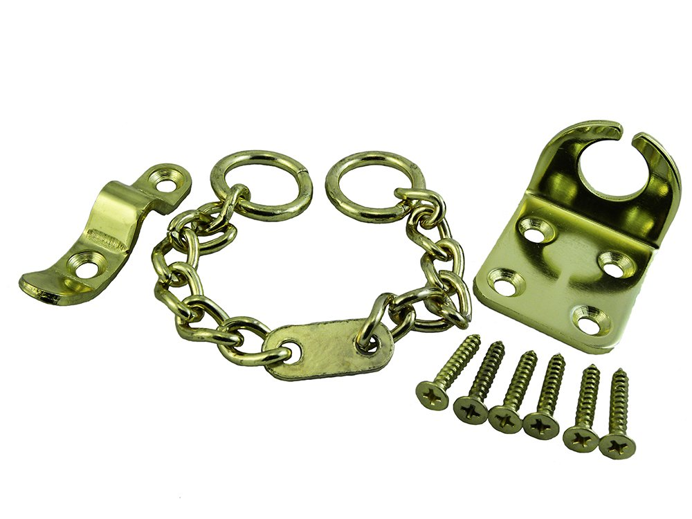DOOR CHAIN SECURITY SAFETY LOCK WING TYPE + SCREWS BRASS PLATED PACK OF 25