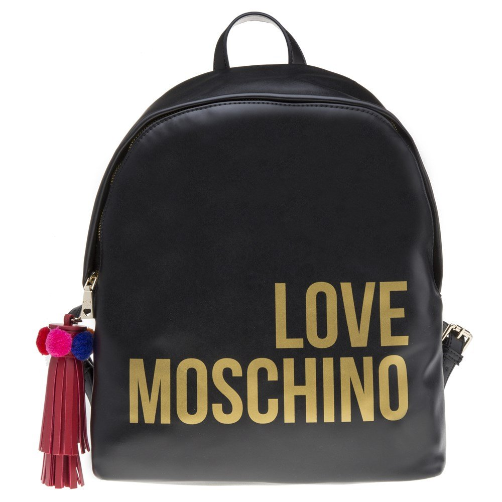 Love Moschino Backpack Bag In Black Leather With Gold Logo and Tassel Pendant With Colored Ponpon.