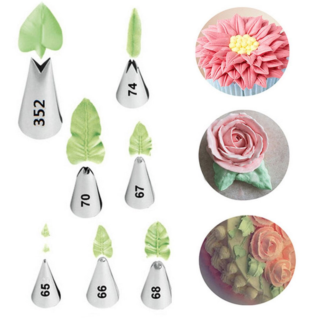 Gracelaza 7 pcs Piping Icing Nozzles Cake Decorating Tips Set - Ideal Pastry DIY Tools Kit for Cupcakes and Backing Cookies #6