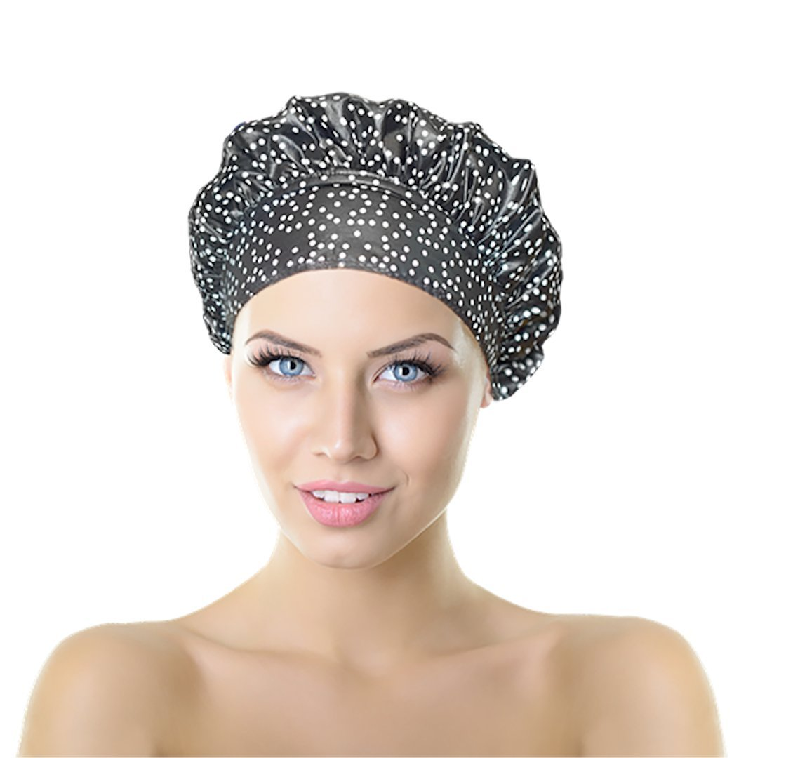 No Pinch TIARA Shower Cap Best Shower Cap in USA Terry Lined Reversible Patented TIARA Shape (Dots)