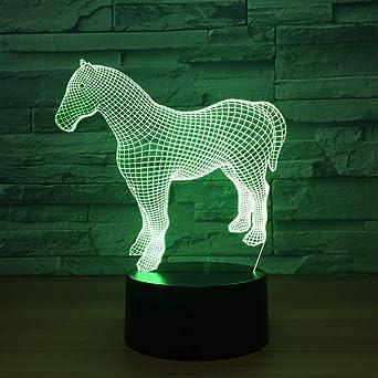KangYD Caballo 3D Night Light/Colorido regalo creativo/Cumpleaños ...