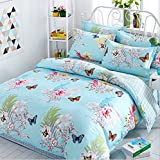 Moldiy 100% Cotton 4-Piece Duvet Cover Set with Blooming Delicate Flowers and Butterfly,Bedding Sheet Sets Bedding Collections for Home Decor,Light Blue,Queen