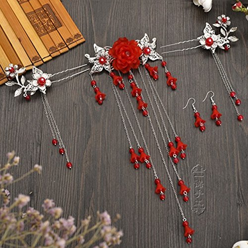chinese chinese costume lady girls hair accessories headdress step shake tassel ancient chinese clothing cosplay hair pins hair ornaments elegant retro classical antiquity hair pin jewelry (red suit (]()
