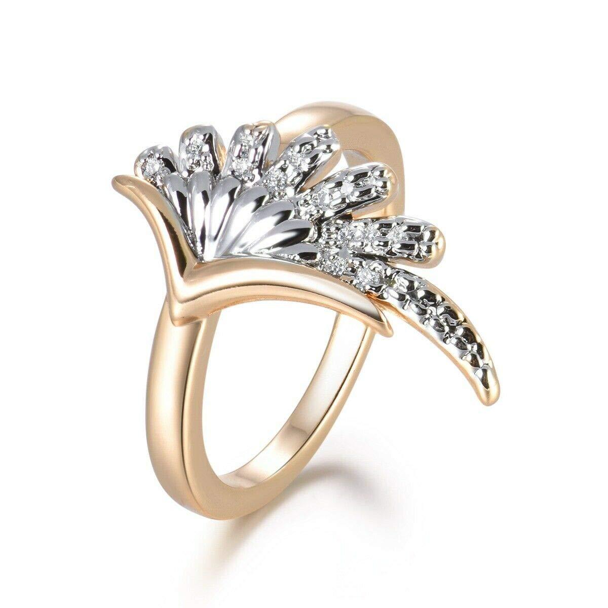 Bonitajewelry Women Rhinestone Gold Cocktail Ring Lady Fashion Party Accessories